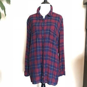 Caslon Tops - Plus Size Caslon Long Sleeve Plaid Shirt